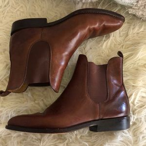 Cole Haan 6B Brown Leather Flat Booties Brazil EUC